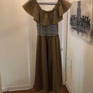 Off the shoulder dress with striped midriff.